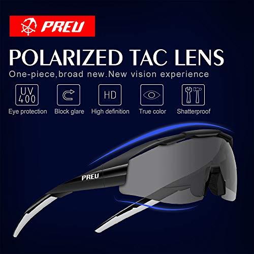 PREU Gafas de sol deportivas unisex polarizadas para hombres Mujeres Ciclismo Correr Conducción Pesca Golf Gafas de béisbol S1495)