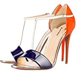 Lovirs Women's Orange Open Toe Contrast Color High Heels T-strap Sandals Stiletto Dress Shoes 8.5 M US