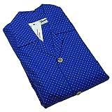 Men's Chelsea Blue Spot Pajamas Set, Fine Brushed Cotton Top & Trousers, Royal Blue Medium