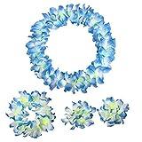 Blue White Tropical Hawaiian Luau Silk Flower Leis Garland Necklace Bracelets Headband Set-Birthday Party Supplies Decorations Favors