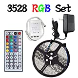 LED Flexible Strip Lights,econoLED 16.4ft 300leds 5m Waterproof Adhesive Light Strips RGB Color Changing Smd 3528 ribbon Kit with 44key Remote with Power Supply