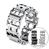 Multi Wearable Tread Bracelet Stainless Steel Wearable 29 IN 1 Multi-tool, for Outdoor Emergency (SILVER)