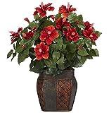 SKB Family Hibiscus w/Vase Silk Plant excellent flowers pleasant