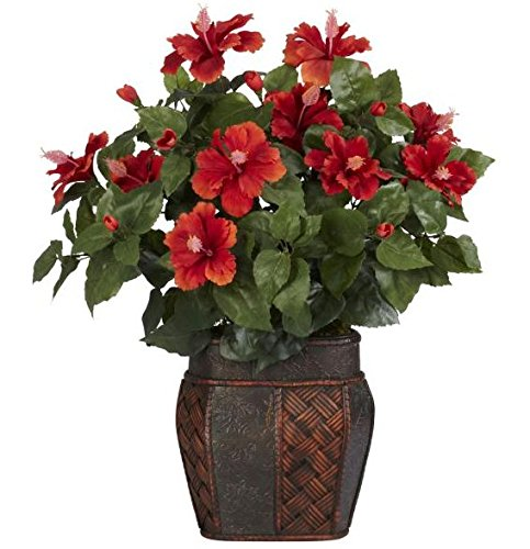 SKB Family Hibiscus w/Vase Silk Plant excellent flowers pleasant by SKB Family