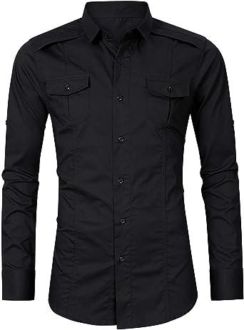 Pinkpum - Camisa para Hombre, algodón, Manga Larga, Estilo Militar, para Senderismo Negro L: Amazon.es: Ropa y accesorios