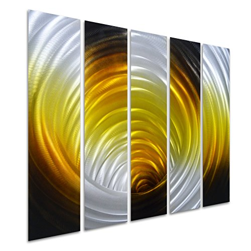 Mexican Rustic 3 Drawer (Pure Art Vortex in Gold - Abstract Metal Wall Art Decor - Hanging Sculpture of 5 Small Panels - Modern Decoration of 34