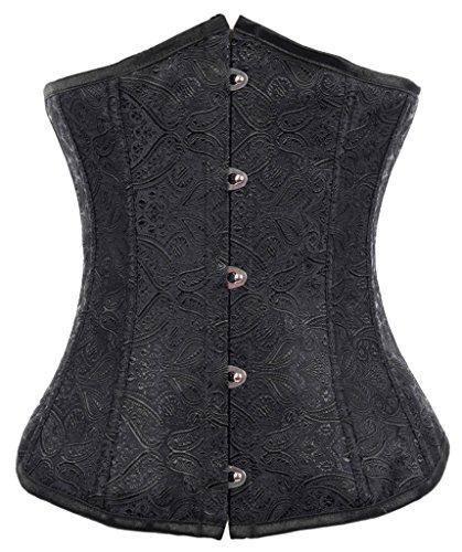 mens Vintage Lace Boned Renaissance Corset 2002-Black-2XL (Lace Spandex Corset)