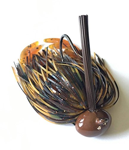 Screwy Lewy Lures Football Bass Jigs with Craw Trailer (Black Brown Amber, 1/4 (Amber Bass)