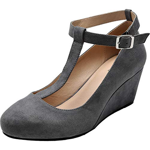 Luoika Women's Wide Width Wedge Shoes - Mary Jane Heel Pump with T-Strap.(Grey 180310,8WW) (Jane Mary Wedge Shoes)