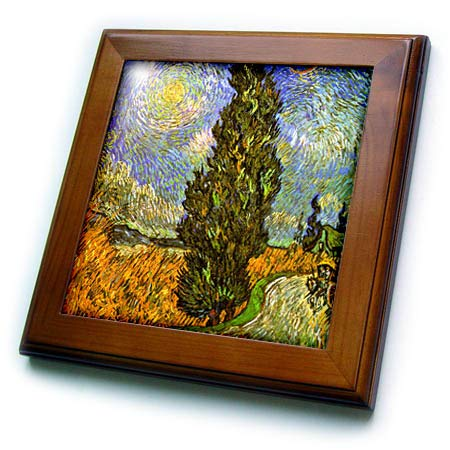 - 3dRose VintageChest – Masterpieces - Van Gogh - Road with Cypress and Star - 8x8 Framed Tile (ft_303220_1)