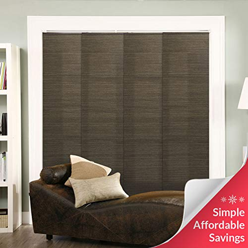 """Chicology Adjustable Sliding Panels, Cut to Length Vertical Blinds, French Oolong (Natural Woven) - Up to 80""""W X 96""""H from CHICOLOGY"""