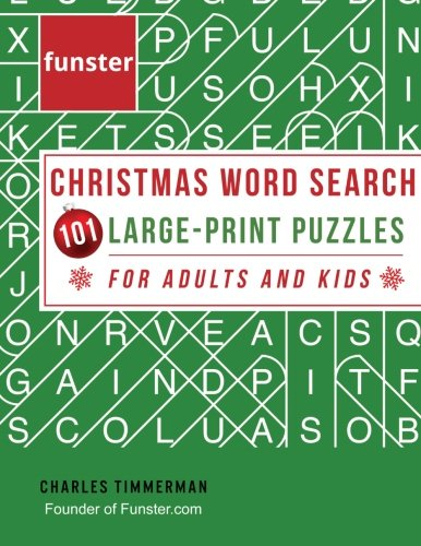 Funster Christmas Word Search 101 Large-Print Puzzles for Adults and Kids: Exercise your brain and fill your heart with Christmas spirit cover
