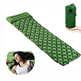BOSST Inflatable Sleeping Pad with Built-In Pillow Ultralight Air Camping Mat for camping Backpacking Tent Inflating Camp Mattress Fit Adults Kids Green