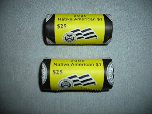 - 2009 Sacagawea Native American $1 Coin 25-Coin Mint Roll Uncirculated Lot of 2 P and D MINT