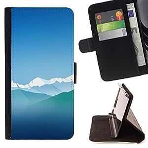 BullDog Case - FOR/Samsung Galaxy S6 / - / blue ice mountains sky nature winter alps /- Monedero de cuero de la PU Llevar cubierta de la caja con el ID Credit Card Slots Flip funda de cuer