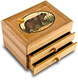 Wood Art Bear Box - Handmade in USA - Unmatched Quality - Unique, No Two are the Same - Original Work of Wood Art. A Black Bear Gift, Ring, Trinket or Wood Jewelry Box (#6111 Black Bear 2 Drawer)