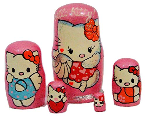 5pcs Hand Painted Russian Nesting Doll of Hello Kitty Medium (4.25 inches)]()