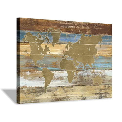 Hardy Gallery World Map Picture Canvas Print: Map on Rustic Wood Background Graphic Art Painting Print in Beige Decor Artwork for Office (36''x24'')
