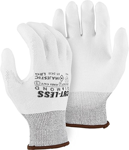 Majestic 37-3435 White Poly Coated Cut Resistant Gloves Dyneema Diamond Size Medium (3 Pair)