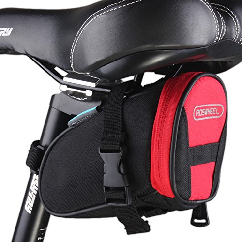 Sawz Seat Bag, Black & Red Medium Strap On Wedge Cycling Pouch, Fixed Gear Mountain Bike Seat Post Bag with Tail Light Hanger