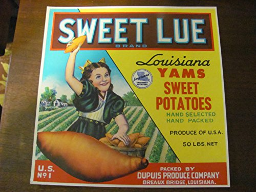 (SWEET LUE Louisiana yam crate label, vintage, 1940s/50s)