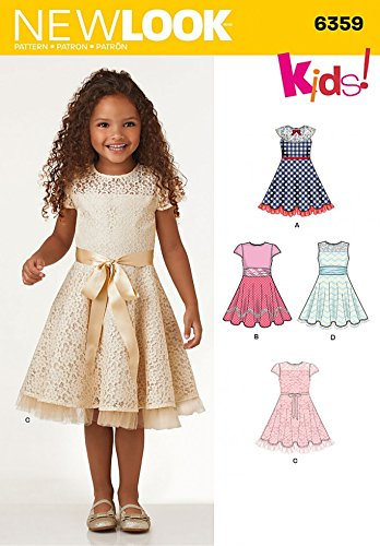 New Look Girls Sewing Pattern 6359 Fit & Flare Dresses: Amazon.co.uk ...