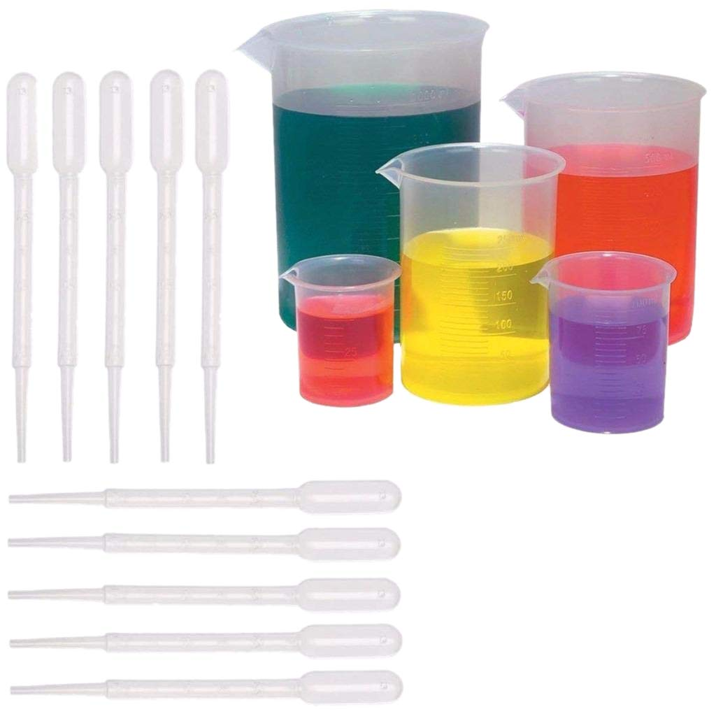 SODIAL 5 Sizes Plastic Beakers Measuring Cups Set(50, 100, 250, 500, 1000ML) and 20 Pack Clear 3ml Graduated Transfer Pipettes