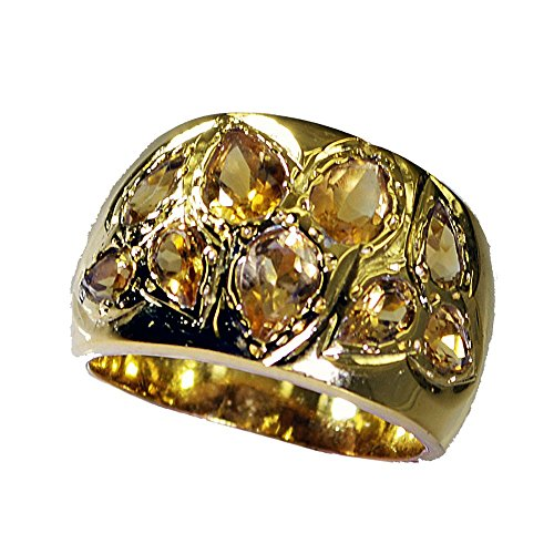 - Jewelryonclick Pear Citrine CZ Gold Plated Wedding Ring Women Cluster Style Size 4,5,6,7,8,9,10,11,12