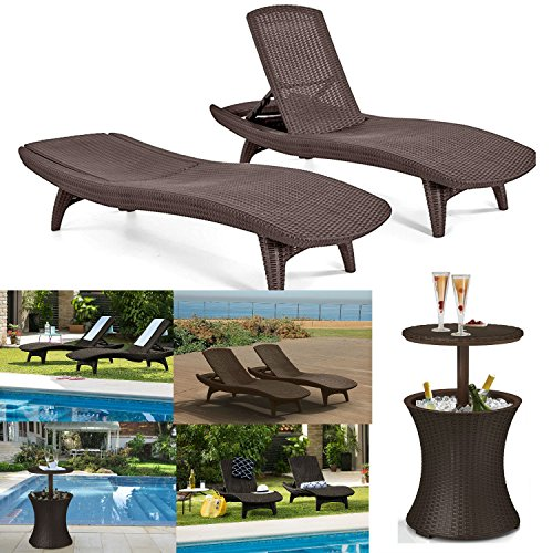 Outdoor Patio Pool Chaise Lounge Furniture Set – Includes Set of 2 Keter Chairs {All-Weather, 4 positions, stackable} and 7.5-Gal Pool Cooler/Cocktail Table, Brown - Best Patio Chairs and Table set - Red Adirondack End Table