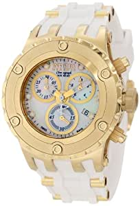Invicta Women's 0531 Subaqua Reserve Chronograph White Mother-Of-Pearl White Polyurethane Watch