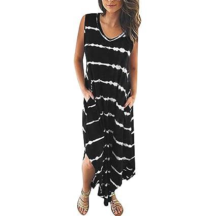 Women's Clothing Summer Dress Striped Short Sleeved Pocket Split Irregular Hem Long Beach Dress Casual Long Girl Tops Dress Female Fashion 2019