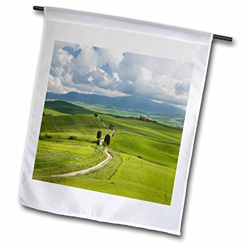 3dRose Danita Delimont - Agriculture - A country road through rolling hills of wheat, Pienza, Tuscany, Italy - 12 x 18 inch Garden Flag - Road Hill Field