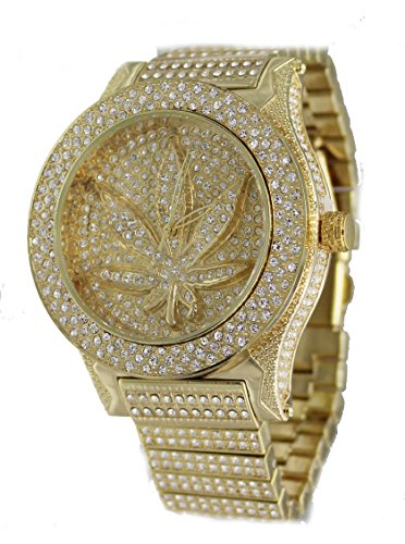 Men's Luxury Shangri-La Series Gold Marijuana Inlay Bling Bling Watch-Large Size ()