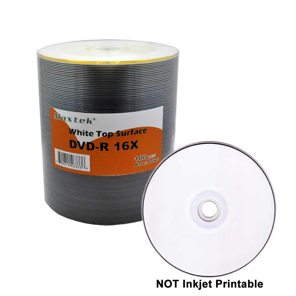 Maxtek Premium Grade White Top Surface DVD-R DVDR 16x Blank Disc, 4.7GB, 120min. 100 Pcs Pack.