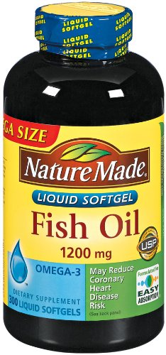 Nature Made huile de poisson oméga-3 1200mg, 300 gélules