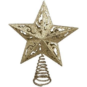 Kurt Adler 8-Inch Gold Glittered 5 Point Star Treetop