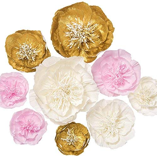 Lings moment Paper Flower Decorations Set of 9(12-8 Assorted), Handcrafted Large Crepe Paper Peonies for Party Wedding Nursery Bridal Shower Centerpiece Photo Backdrops(Gold+Pink+White)