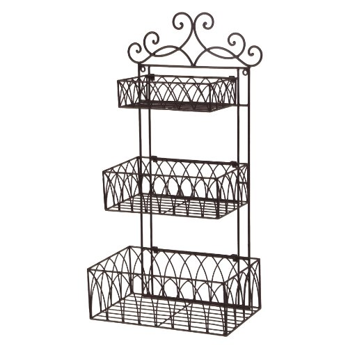 Amazon.com: Tuscan Wrought Iron Metal 3 Tier Wall Shelf or Wall ...