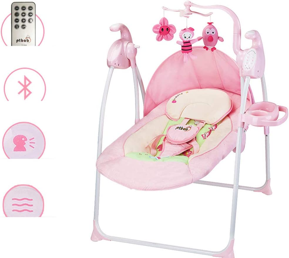 Elektrische Babyschaukel Babywippe mit Moskitonetze Melodien und Schaukelgeschwindigkeiten//Bluetooth A//blue