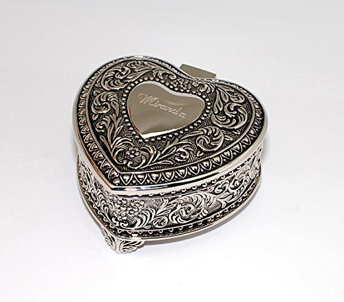 Personalized Jewelry box - Monogramed Heart Shaped Engraved trinket box - Antique (Heart Silver Trinket Box)