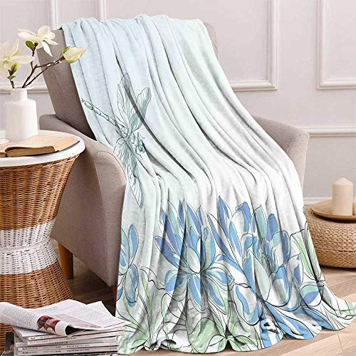 maisi Dragonfly Digital Printing Blanket Waterlilies Flowers and Dragonflies Simplistic Design Eco Nature Theme Artwork Summer Quilt Comforter 62
