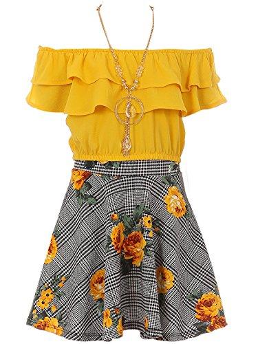 Big Girl 3 Pieces Set Summer Off Shoulder Crop Top T-Shirt Skirt Outfit USA (21JK30S) Yellow - Crop Kitty