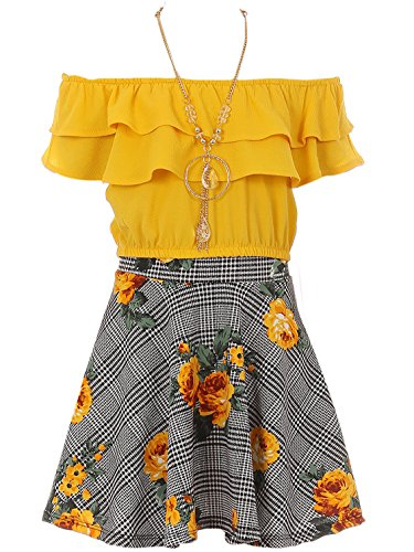 Big Girl 3 Pieces Set Summer Off Shoulder Crop Top T-Shirt Skirt Outfit USA (21JK30S) Yellow 8
