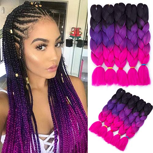 (Jumbo Braiding Hair Crochet 5 Packs Jumbo Braid Hair Extension Ombre Color Kanekalon Synthetic Crochet Braids Hair Twist Braiding Hair (Black-Purple-Rose, 24)