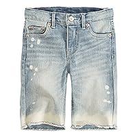 Levi's Girls' Toddler Denim Bermuda Shorts, Weathered Indigo, 3T