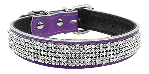 Berry Pet Beirui Bling Rhinestones Dog Collar - Soft Genuine Padded Leather Made Sparkly Crystal Diamonds Studded -Perfect for Pet Show & Daily Walking (L 14-18, Purple)