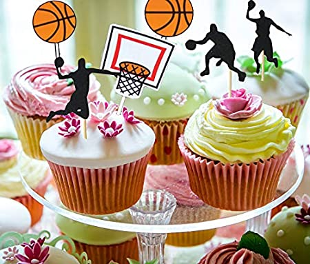 Set of 12 BASKETBALL Cupcake Toppers 3D Printed BIRTHDAY PARTY Sports Decorations Basketball Party Favors BBall Cake Decor