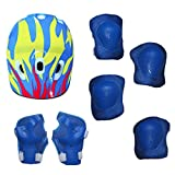 D DOLITY Kids Protective Pads Knee Pads Elbow Pads Wrist Guards Head Gear 7 In 1 Outdoor Sports Protective Gear Set - Yellow Blue, 26x20x13cm