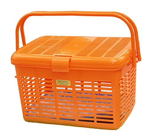 1 Safe Pet Carrier Orange Amazing Pet Carrier Travel 16x11.63x10.25 Safe To The Vet in the Car Wide Top Loader Easily Place and See Cats Dogs Birds Small Animals inside Fully Assembled Free Soft Fur Mat