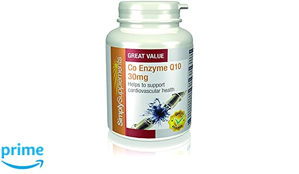 Coenzima Q10 30mg Ubiquinona - 2 frascos de 180 cápsulas - Hasta 1 año de suministro - Aumenta los niveles de energía - SimplySupplements: Amazon.es: Salud ...